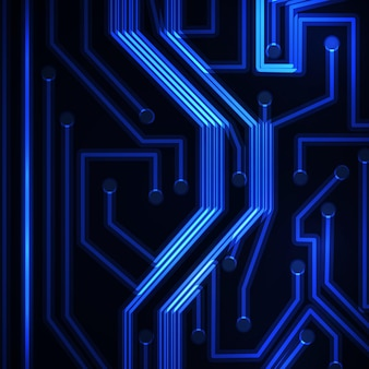 Neonleiterplatte, abstrakte technologieillustration.