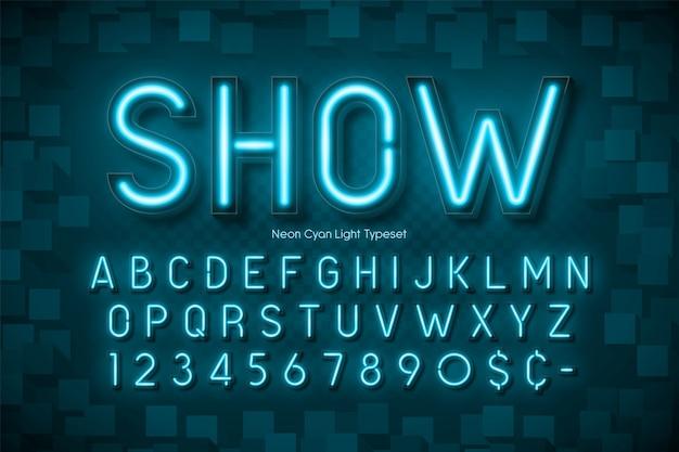 Neonlicht 3d alphabet, extra leuchtende schrift