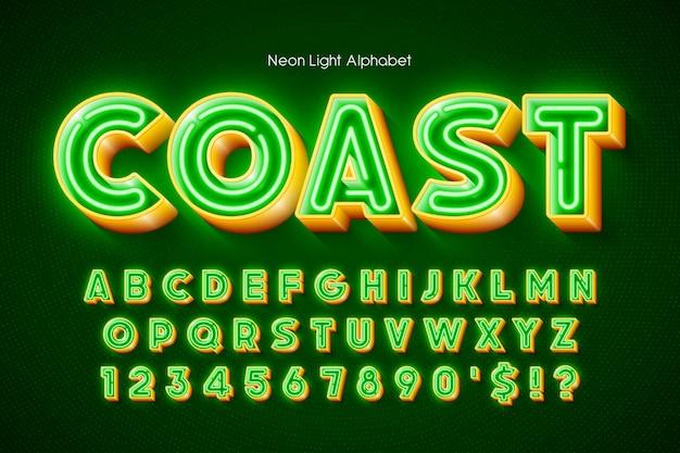 Neonlicht 3d-alphabet, extra leuchtender originaltyp. swatch-farbsteuerung.