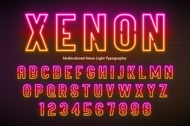 Neonlicht-alphabet, mehrfarbige, besonders leuchtende schrift
