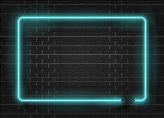 Neonlicht-rechteckschablone auf dunkler backsteinmauer