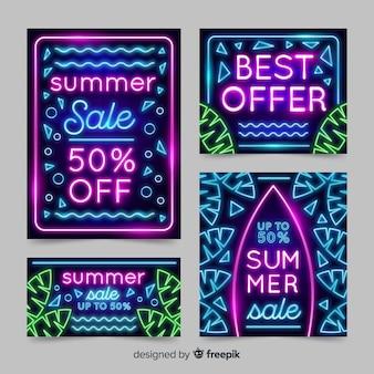 Neonlicht-sommerschlussverkauffahnen