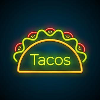 Neonlicht-taco-lkw-zeichen der traditionellen tacomahlzeit