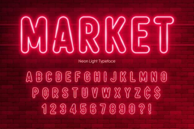 Neonlichtalphabet, extra leuchtendes schriftdesign