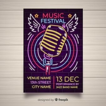 Neonlichtart der musikfestival-plakatschablone