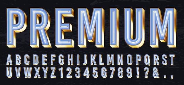 Neonlichtbox schriftart. premium leuchtende buchstaben, goldenes alphabet und elite gold schriftzug mit neons lichter 3d vektor-illustration gesetzt