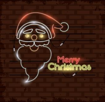 Neonlichter der frohen Weihnachten Karte