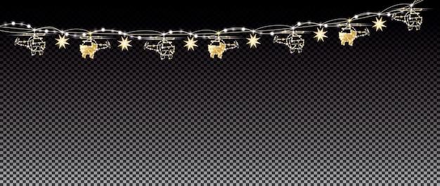 Neonlichter und goldene girlande mit hubschraubern auf transparentem gitterhintergrund. frohe weihnachten und ein glückliches neues jahr-konzept. vektor-illustration.