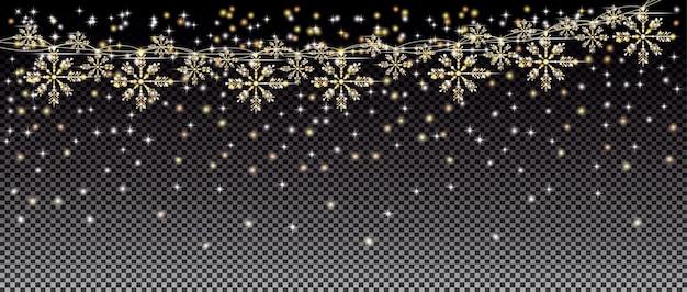 Neonlichter und goldene girlande mit schneeflocken auf transparentem gitterhintergrund. frohe weihnachten und ein glückliches neues jahr-konzept. vektor-illustration.