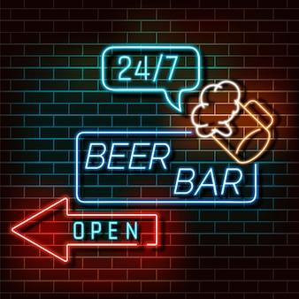 Neonlichtfahne der bierbar auf einer backsteinmauer. blaues und orange zeichen. dekoratives realistisches retro- element für webdesign vektor-illustration.