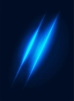 Neonlichtkraft oder fantasieglanzglitzereffektvektor verwischten blaues gestaltungselement