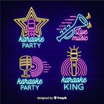 Neonlichtsammlung mit karaoke-konzept