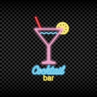 Neonlichtschild der cocktailbar glühendes und leuchtendes helles schild für das logo des nachtclubs
