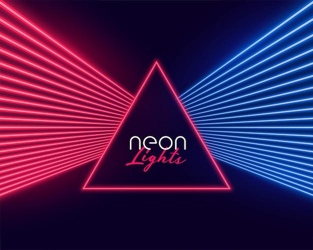 Neonlichtstrahlen in roten und blauen farben