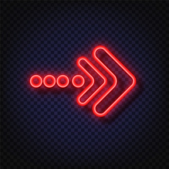 Neonpfeilzeichen. glühender neonpfeilzeiger isoliert. realistisch leuchtender heller neonpfeil. leuchtender und leuchtender neon-effekt.