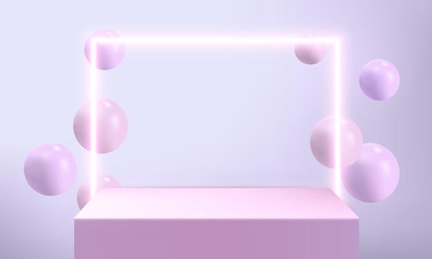 Neonquadrat mit ballon und podium