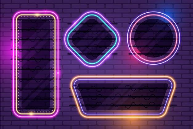 Neonrahmen abstrakte designkollektion