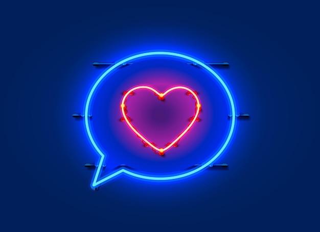 Neonrahmen-chat-zeichen in form eines herzens. schablonengestaltungselement.