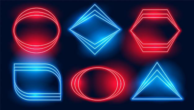 Neonrahmen in sechs verschiedenen geometrischen formen