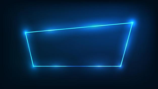 Neonrahmen mit leuchtenden effekten auf dunklem hintergrund. leere leuchtende techno-kulisse. vektor-illustration.