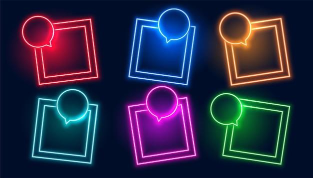 Neonrahmen-set im chat-blasen-stil