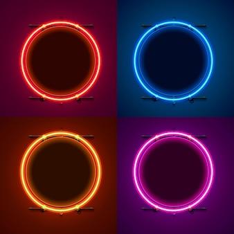 Neonrahmenzeichen in form eines kreises. farbe einstellen. schablonengestaltungselement.