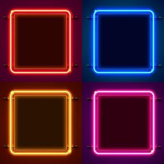 Neonrahmenzeichen in form eines quadrats. farbe einstellen. schablonengestaltungselement.