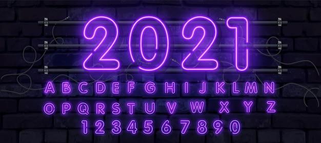 Neonröhre alphabet schriftart illustration