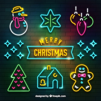 Neonsammlung von weihnachtsattributen