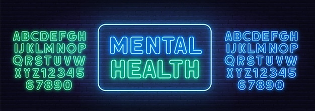 Neonschild der psychischen gesundheit auf backsteinmauerhintergrund.