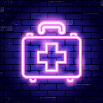 Neonschild des medizinischen kits.