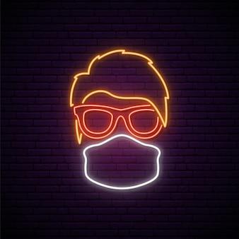 Neonschild mit medizinischer schutzmaske