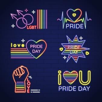 Neonschilder der pride day-feier