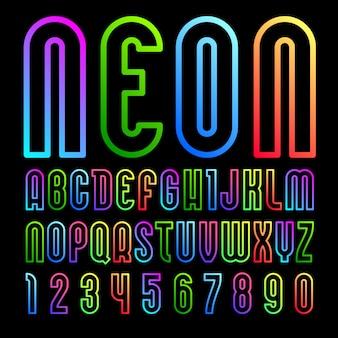 Neonschrift, alphabet im einfachen stil.