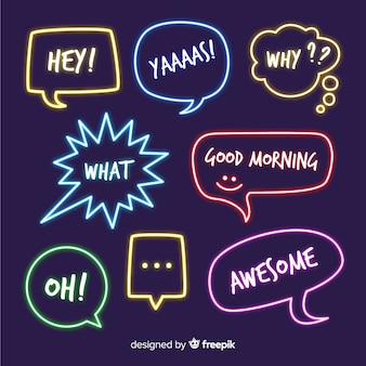 Neonspracheblasen mit verschiedenen ausdrücken