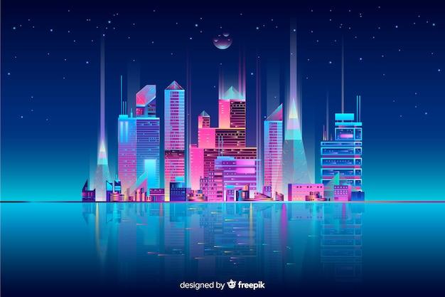Neonstadtbild-hintergrund