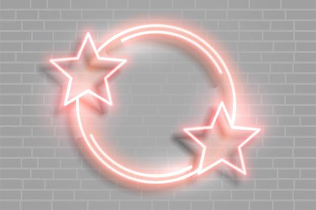 Neonstern leuchtender rahmen mit textraum