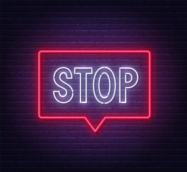Neonstoppschild in einem rahmen auf backsteinmauerhintergrundillustration