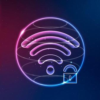 Neonsymbol für internetsicherheitskommunikationstechnologie mit schloss