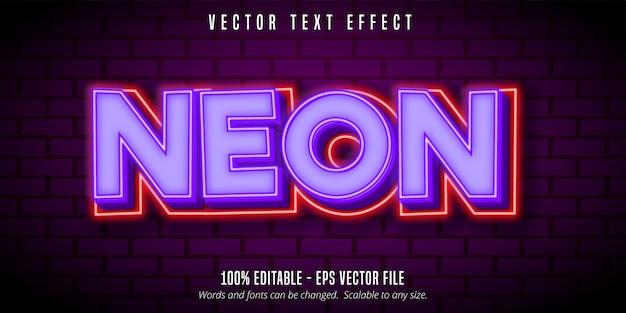 Neontext, bearbeitbarer texteffekt im lila neonstil