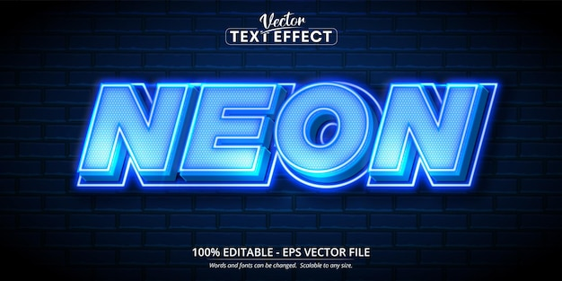 Neontext, bearbeitbarer texteffekt im neonstil