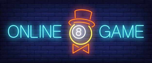 Neontext des on-line-spiels mit ball im hut