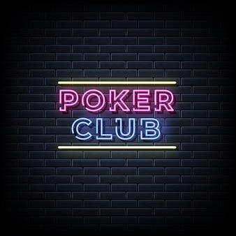 Neontext des pokerclubs, vorlage im neonstil