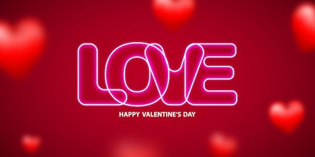 Neontext des valentinstags auf hintergrund.
