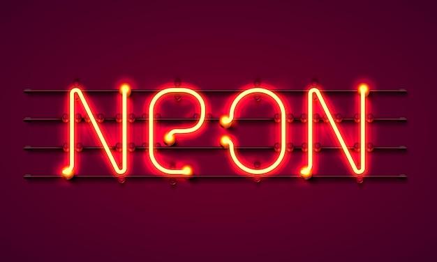 Neontextschild auf rotem grund. vektor-illustration