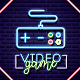 Neonvideospiele und eine neonsteuerungsillustration