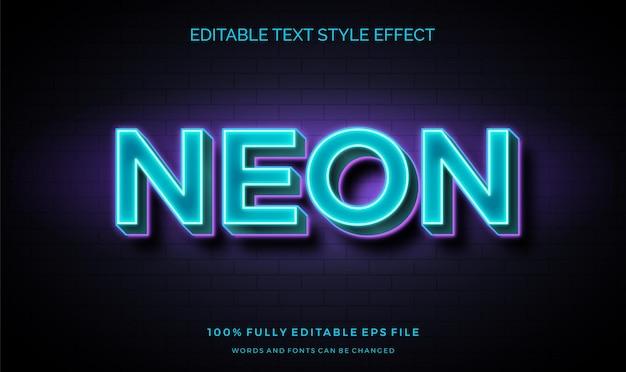 Neonwandzeichen-textstileffekt. bearbeitbare schriftart