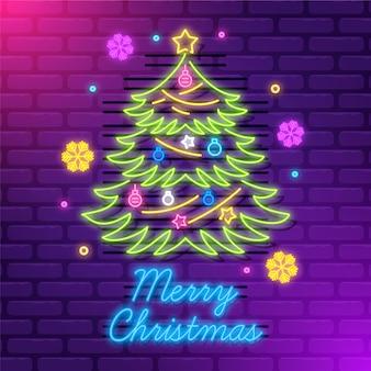 Neonweihnachtsbaum an der wand