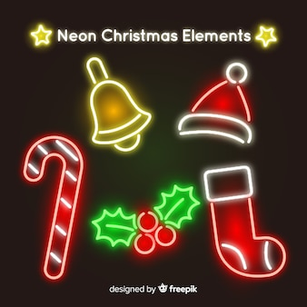 Neonweihnachtselemente packen