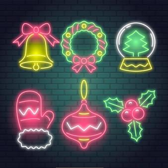 Neonweihnachtselementsammlung